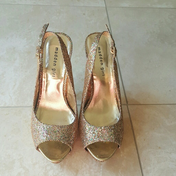 b4aea1a2b9 Madden Girl Shoes   Gold Glitter Platform Heels These   Poshmark